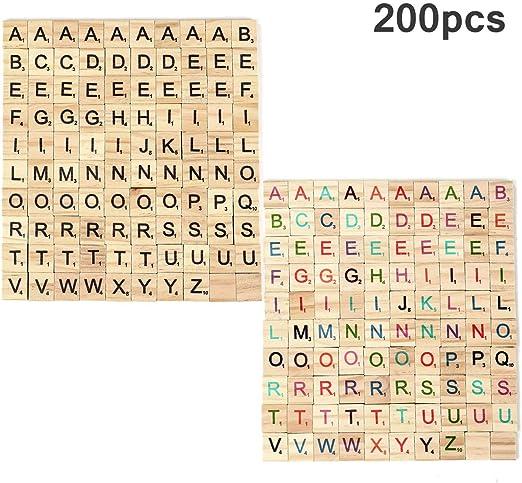 Crazy-M 200 Piezas de Madera Alfabeto Scrabble Azulejos Scrabble Letras Manualidades Artesanía, Educación Preescolar para niños Scrabble Letras Azulejos Scrabble para Jugar: Amazon.es: Juguetes y juegos