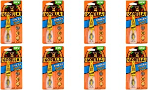 Gorilla Super Glue with Brush & Nozzle Applicator, 10 Gram, Clear, (Pack of 8)