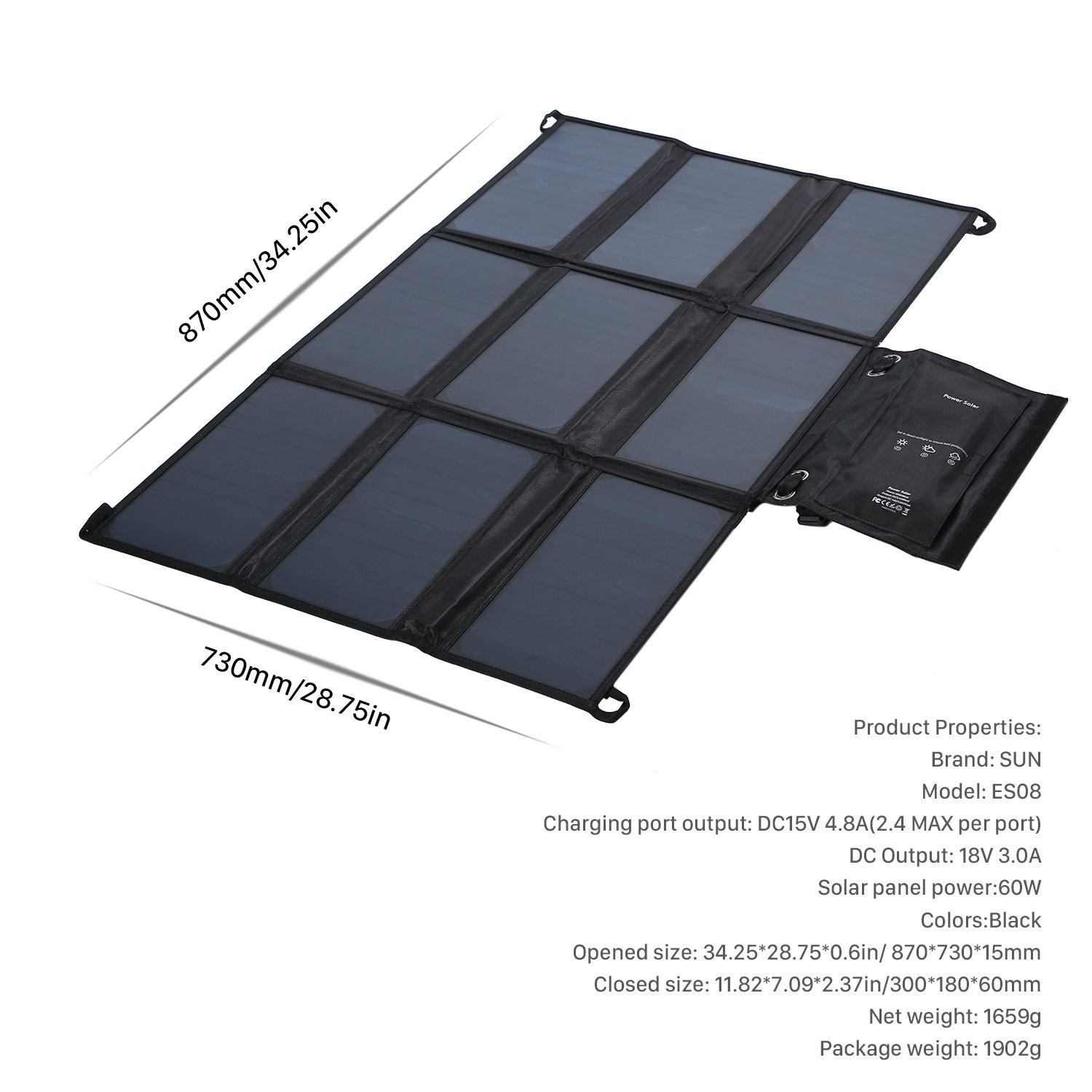 LESHP Highest Efficient Solar Charger 60W Foldable Sunpower Solar Panel Charger Dual Output (5V USB + 18V DC) For StorageBattery, iPhone, iPad, Android Smart Phone by LESHP (Image #7)