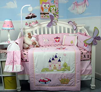 soho royal princess baby crib nursery bedding set 13 pcs included diaper bag with changing pad - Baby Girl Bedding Sets