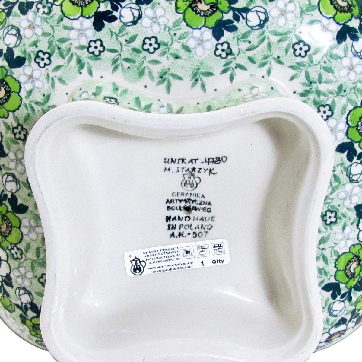 Polish Pottery Unikat 10'' SQUARE PEDESTAL SERVING PLATTER - U4780 Maria Starzyk by Great2bHome Polish Pottery and Unique Gifts (Image #3)
