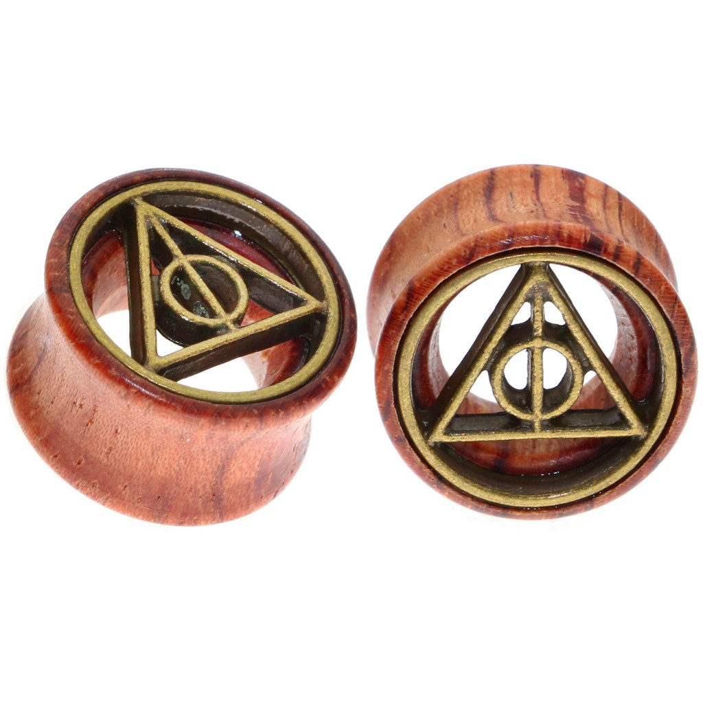 Deathly Hallows Organic Wood Flesh Tunnels Double Flared Ear Stretcher Saddle Plugs Gauge 16mm 5/8'' by Oasis Plus