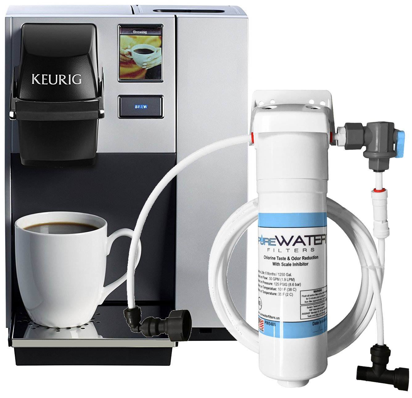 Keurig K150P Commercial Brewer with Direct Water Line Plumb Kit and Filter Kit by PureWater Filters
