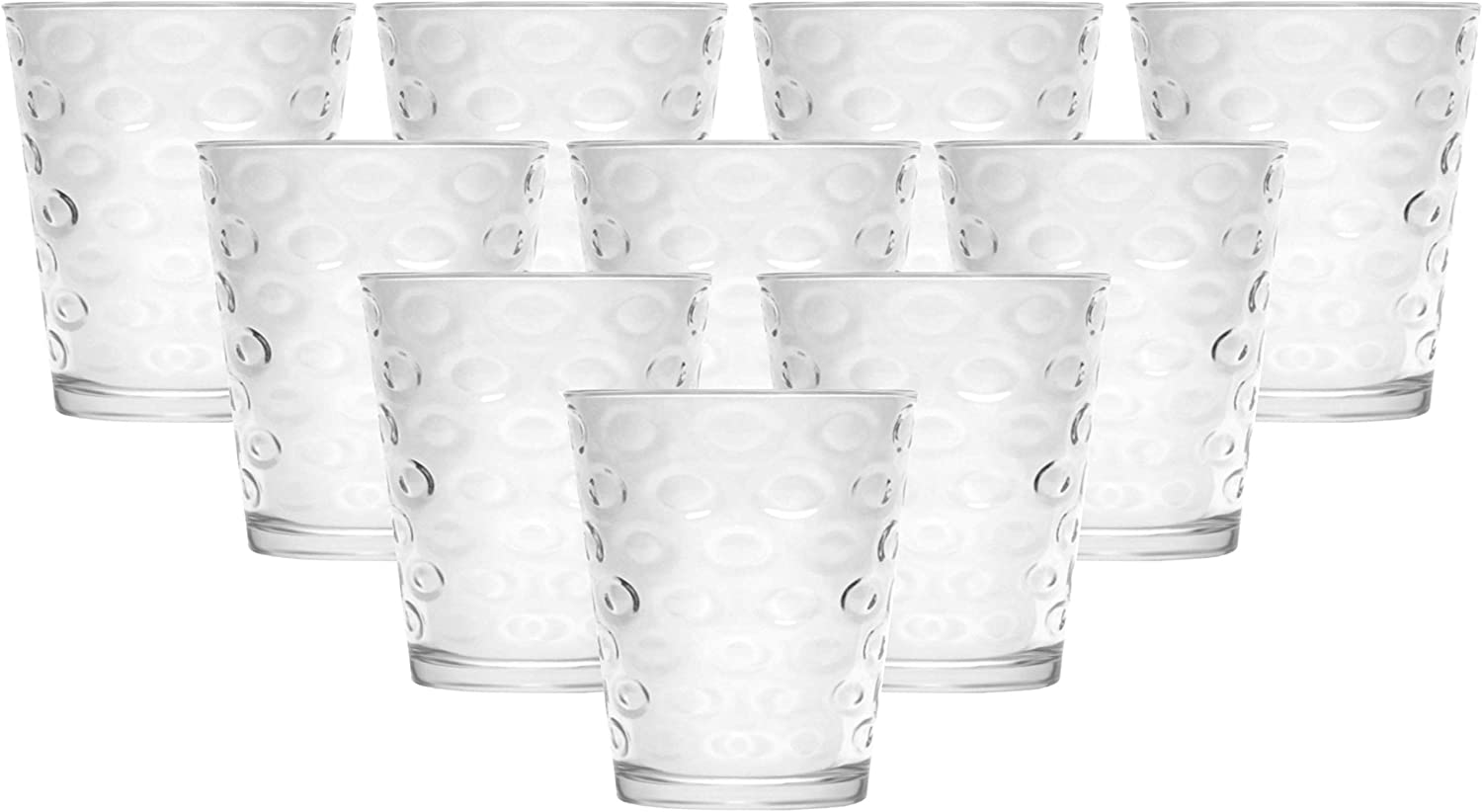 Circleware Circles Juice Drinking Glasses, Huge Set of 10, Heavy Base Tumbler Beverage Ice Tea Cups, Home & Kitchen Entertainment Glassware for Water, Beer, Whiskey Bar Decor, 7 oz, Clear