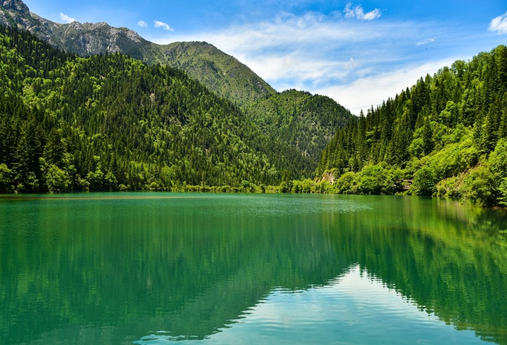 OFILA Lake Backdrop 9x6ft Photography Background Green Mountains Clear Lake  Trees Nature Scenery Blue Sky Travel Portraits Children Photographic Props