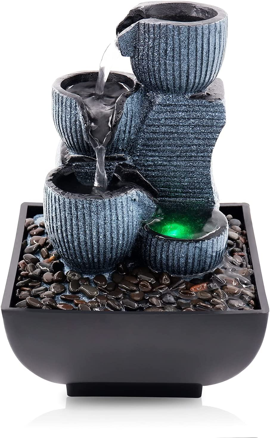 Living Water Fountain with Led Ball Submersible Pump Table Decorative Fountain Feng Shui Waterfall Fountain, Modern Home Office Living Room Decoration Home Gift to Friends