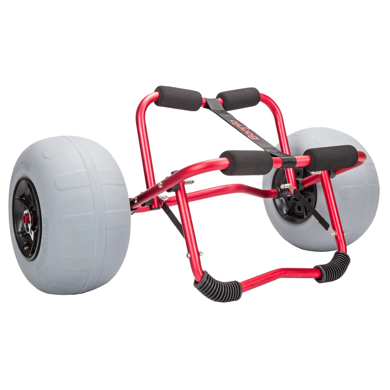 Bonnlo Kayak Canoe Boat Cart Carrier Dolly Trolley with 12'' Big Beach Balloon Tires Wheels - Free Pump and Strap - Perfect for Soft Sand