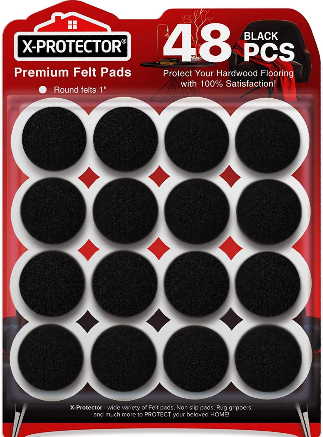 Felt Furniture Pads X-PROTECTOR-48 Premium Felt Pads Floor Protector - Chair Felts Pads for Furniture Feet Wood Floors - Best Furniture Pads for Hardwood Floors - Protect Your Wood Floors! (Black)