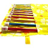 Seawhisper Pack of 12 Colorful Aluminium Afghan Crochet Hooks 2mm-9mm in a Yellow or Pink Pouch