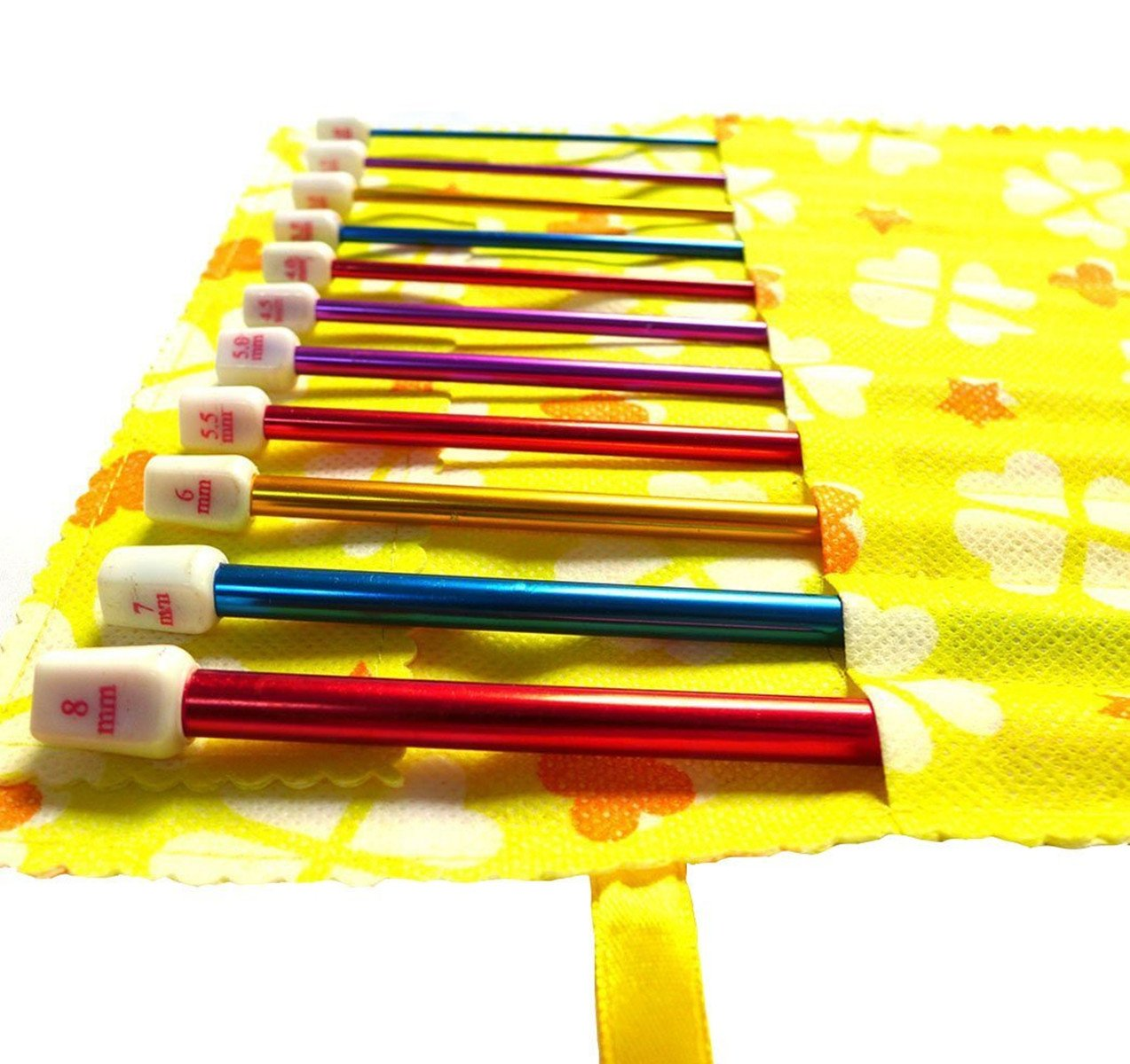 11pces Aluminium Tunisian Afghan Crochet Hook Knitting Needles Set 2mm-8mm in a Yellow/Pink Pouch Seawhisper