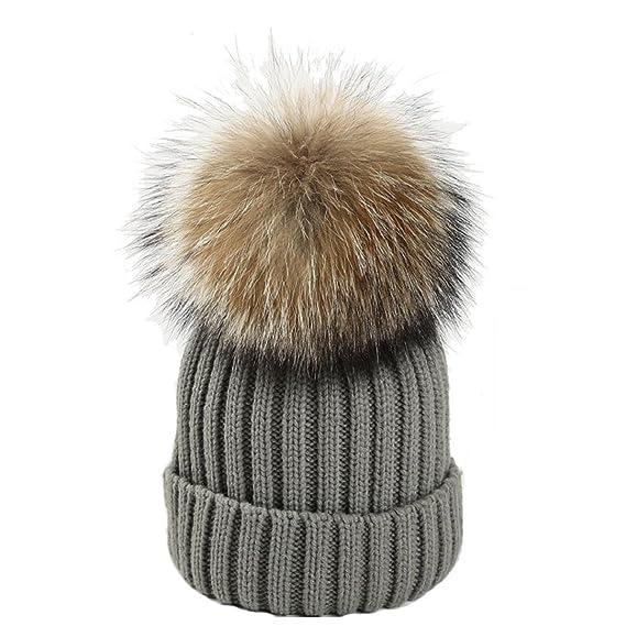 65befc82aa27 Heekpek® Mujeres Invierno Crochet Sombrero Piel Lana Knit Gorro Skullies  Tejer Caliente Cap Sombrero