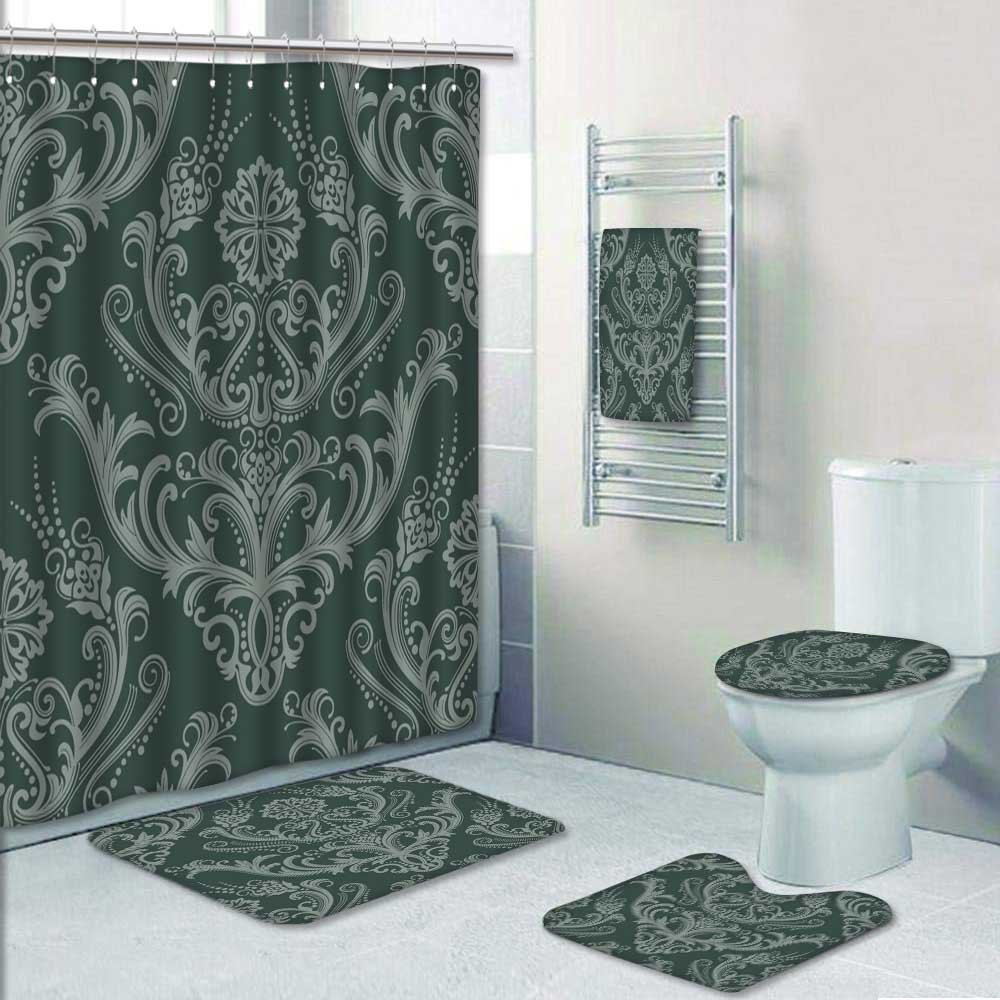 Amazon Com 5 Piece Bath Rug Set Luxury Green Floral Damask