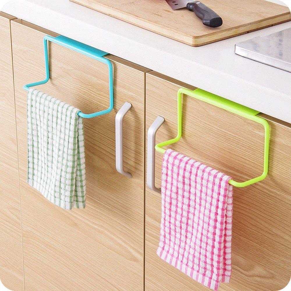 Towel Holder ,Elevin(TM) Towel Rack Hanging Holder Organizer Bathroom Kitchen Cabinet Cupboard Hanger (White)