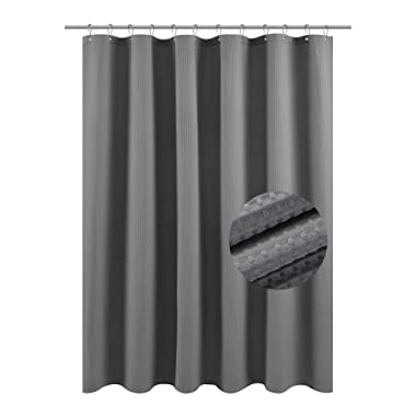 Waffle Weave Fabric Shower Curtain – Spa, Hotel Luxury, Heavy Duty, Water Repellent, Gray – Pique Pattern, 70  x 72  for Decorative Bathroom Curtains (230 GSM)
