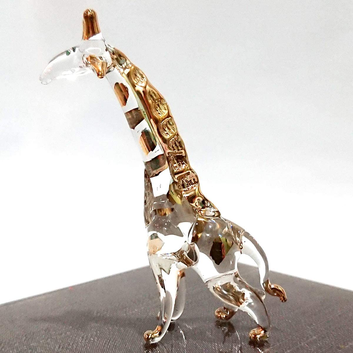Sansukjai Giraffe Miniature Figurines Animals Hand Blown Glass Art 22k Gold Trim Collectible Gift Decorate, Clear Gold