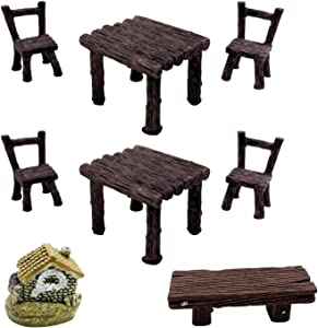 changsha 8 Pcs Miniature Resin Table and Chair Decoration Set, Garden Resin Decor, Dollhouse Accessories for Mini Furniture Kit Toys, Home Micro Landscape Decoration