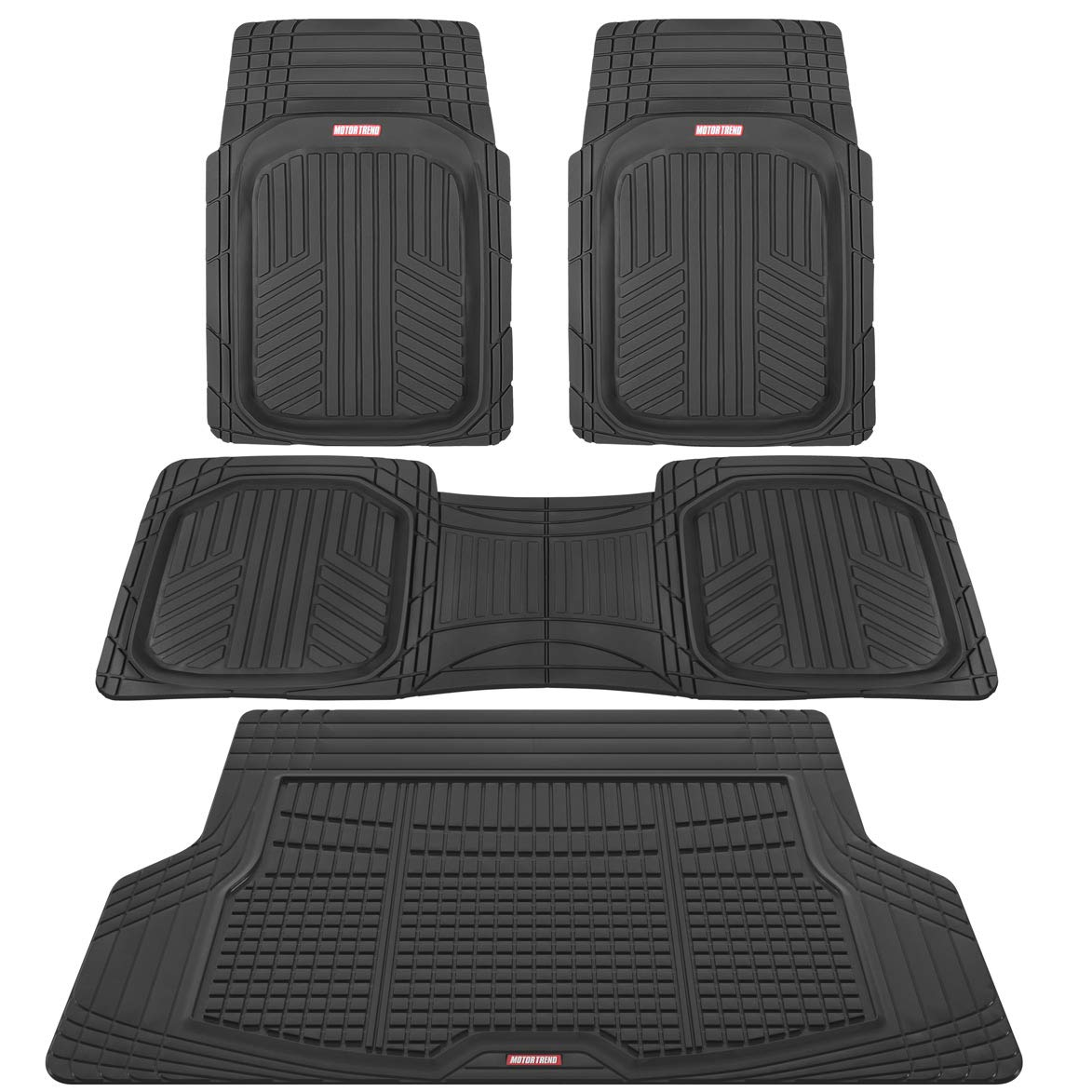 Motor Trend Premium FlexTough All-Protection Cargo Liner - DeepDish Front & Rear Mats Combo Set – w/ Traction Grips, Black