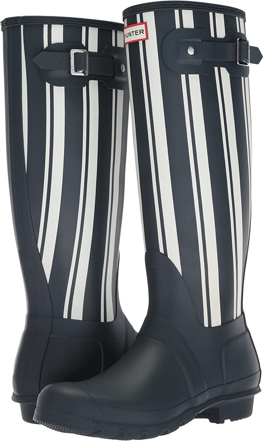 Hunter Womens Original Garden Stripe Tall Rain Boots B0758JHZZF 7 B(M) US|Navy/White
