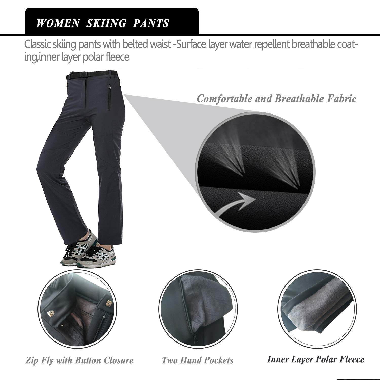 Women Fleece Lined Soft Shell Pants Winter Windproof Insulated Mountain Ski Trousers
