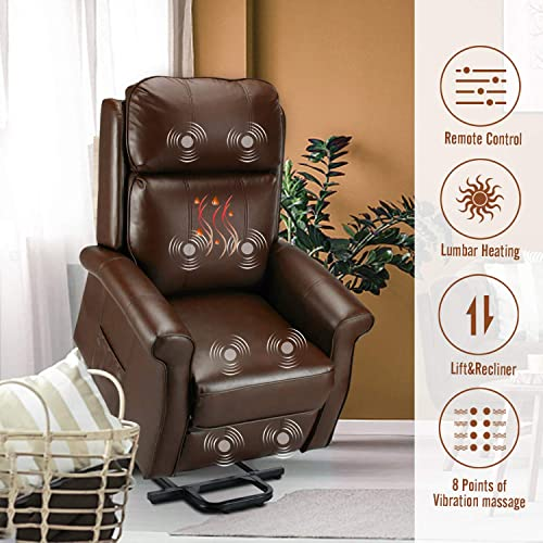 Esright Electric Power Lift Recliner Chair, Faux Leather Electric Recliner for Elderly with Heated Vibration Massage, Side Pocket Remote Control, Brown