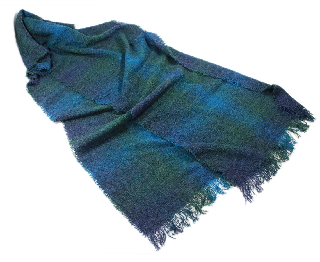 Long Scarf Stole Teal Check 84'' Soft Lambswool Blend