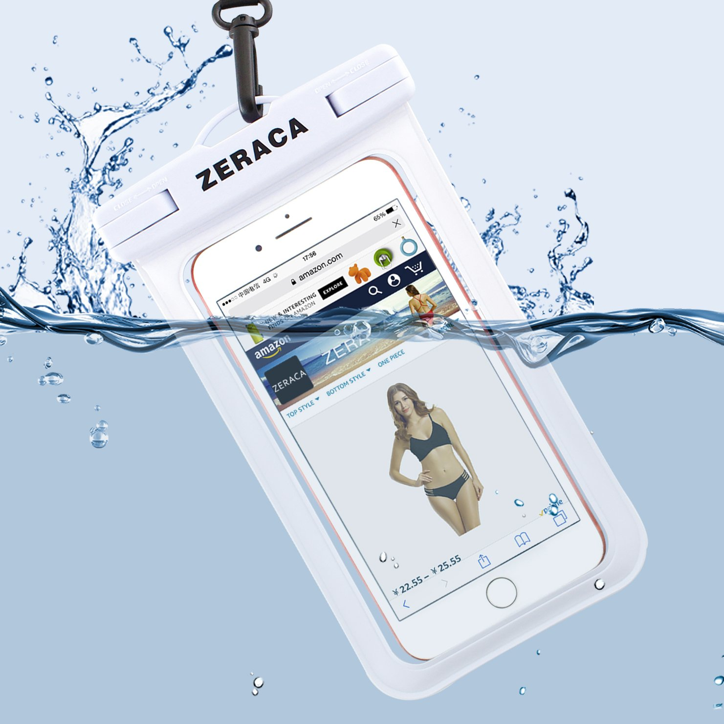 Zeraca Universal Waterproof Case IPX8 Phone Pounch Dry Bag for iPhone 8 8Plus 7 7Plus 6 6s Plus Samsung Google Pixel HTC LG Huawei Up To 6.0 Inches 2 PACK (Black White) by zeraca (Image #4)