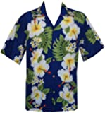 chemises hawaïennes Mens Hibiscus Flower Imprimer Beach Party Aloha rouge