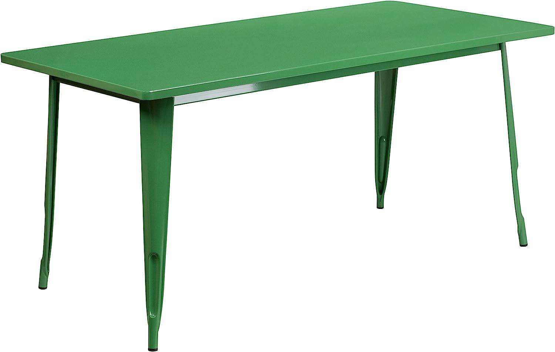 """Flash Furniture Commercial Grade 31.5"""" x 63"""" Rectangular Green Metal Indoor-Outdoor Table"""