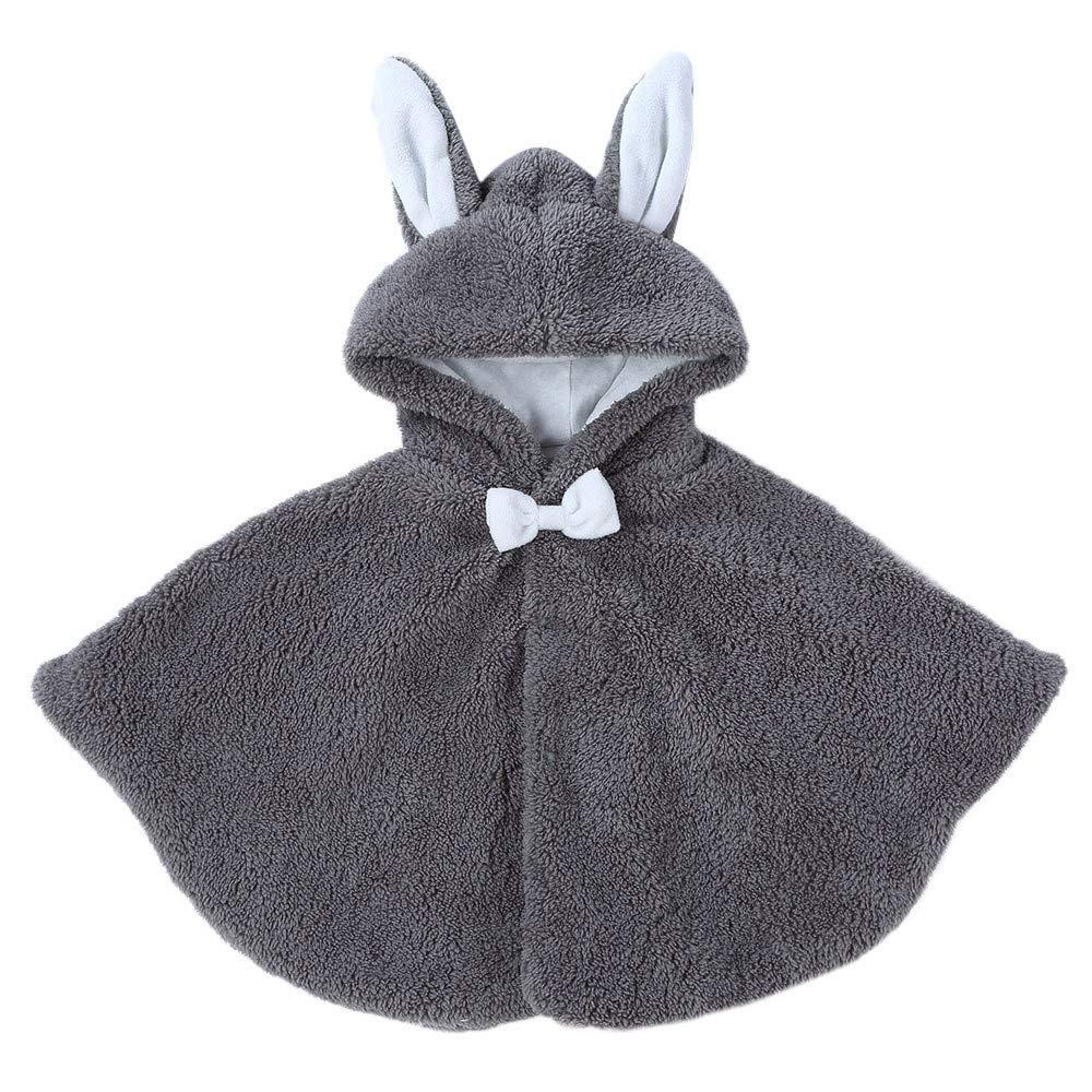Fiaya Toddler Baby Boys Girls Keep Warm Fur Fluffy Cartoon Rabbit Ears Hoodie Coat Cloak Clothes for 1-3 Years (Gray, 24 Months)