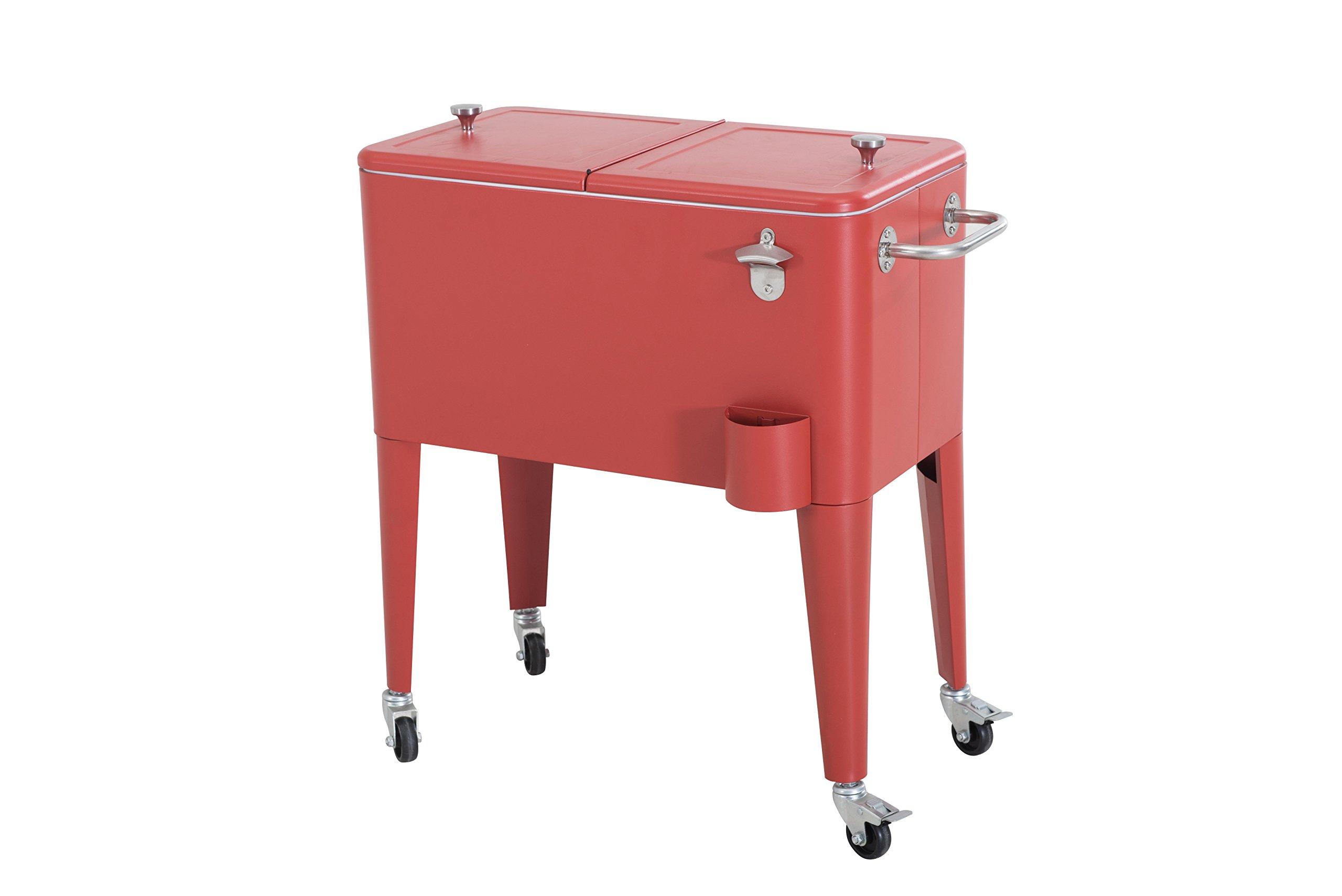 Sunjoy L-BC153PST 60 quart Wheeled Beverage Cooler in Red by sunjoy (Image #3)