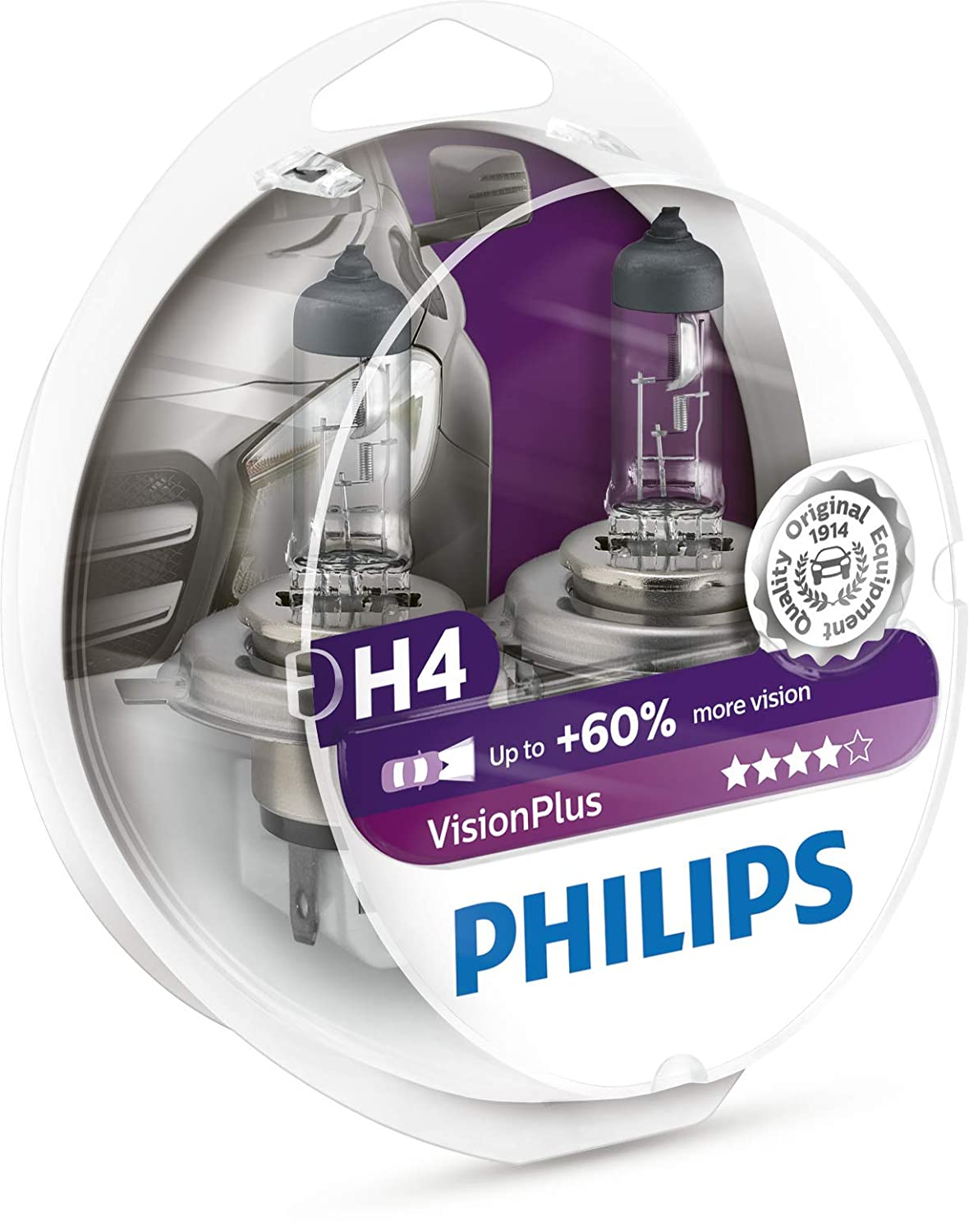 60/% H4 Headlight Lamp Pack of 2 Philips 0730529 12342VPS2 VisionPlus