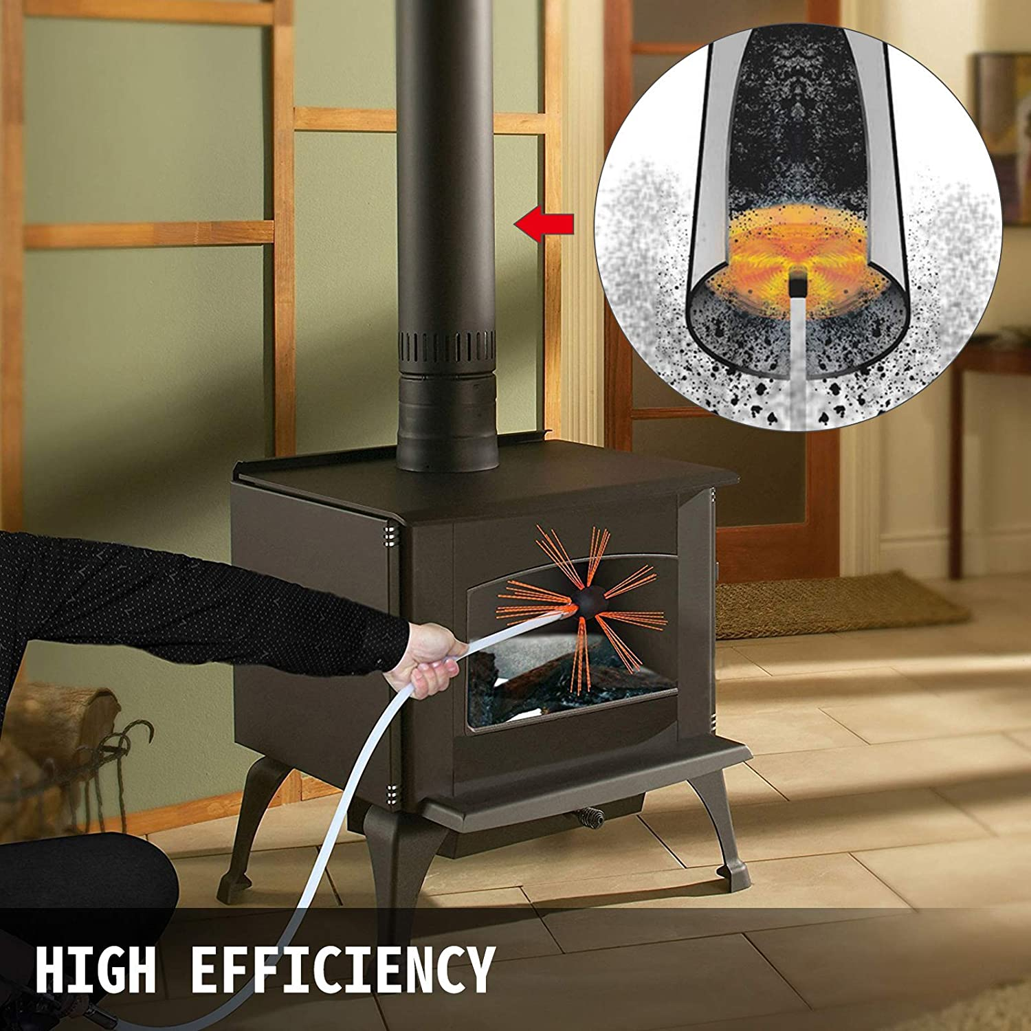 Rotary Chimney Cleaning Kit Driven by Drill VEVOR Chimney Sweep Kit 36FT Length Chimney Brush Kit with 11 Nylon Flexible Rods