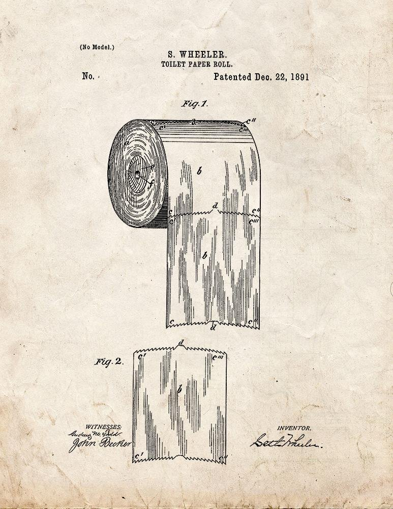 Toilet Paper Roll Patent Print Art Poster Old Look (11'' x 14'')