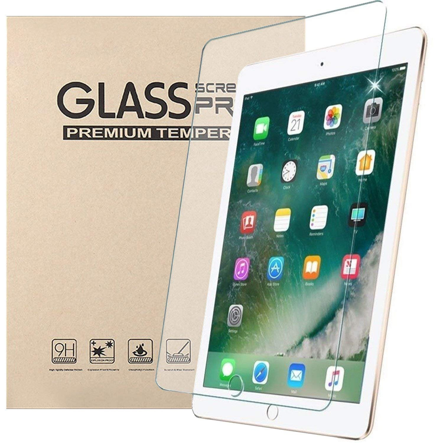 [2 Pack] New iPad 9.7 2017/2018 Glass Screen Protector, HISSP High Definition Clear 9H Hardness Scratch Resistant Tempered Film for iPad 5th/6th Generation, iPad Air 1, iPad Air 2, iPad Pro 9.7 by HISSP