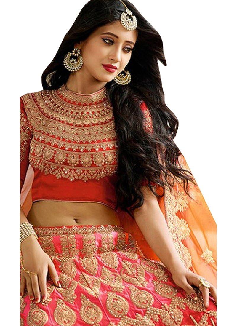 b920f74299 Isha Enterprise Women's Silk Lehenga Choli(Red and Pink_40): Amazon.in:  Clothing & Accessories
