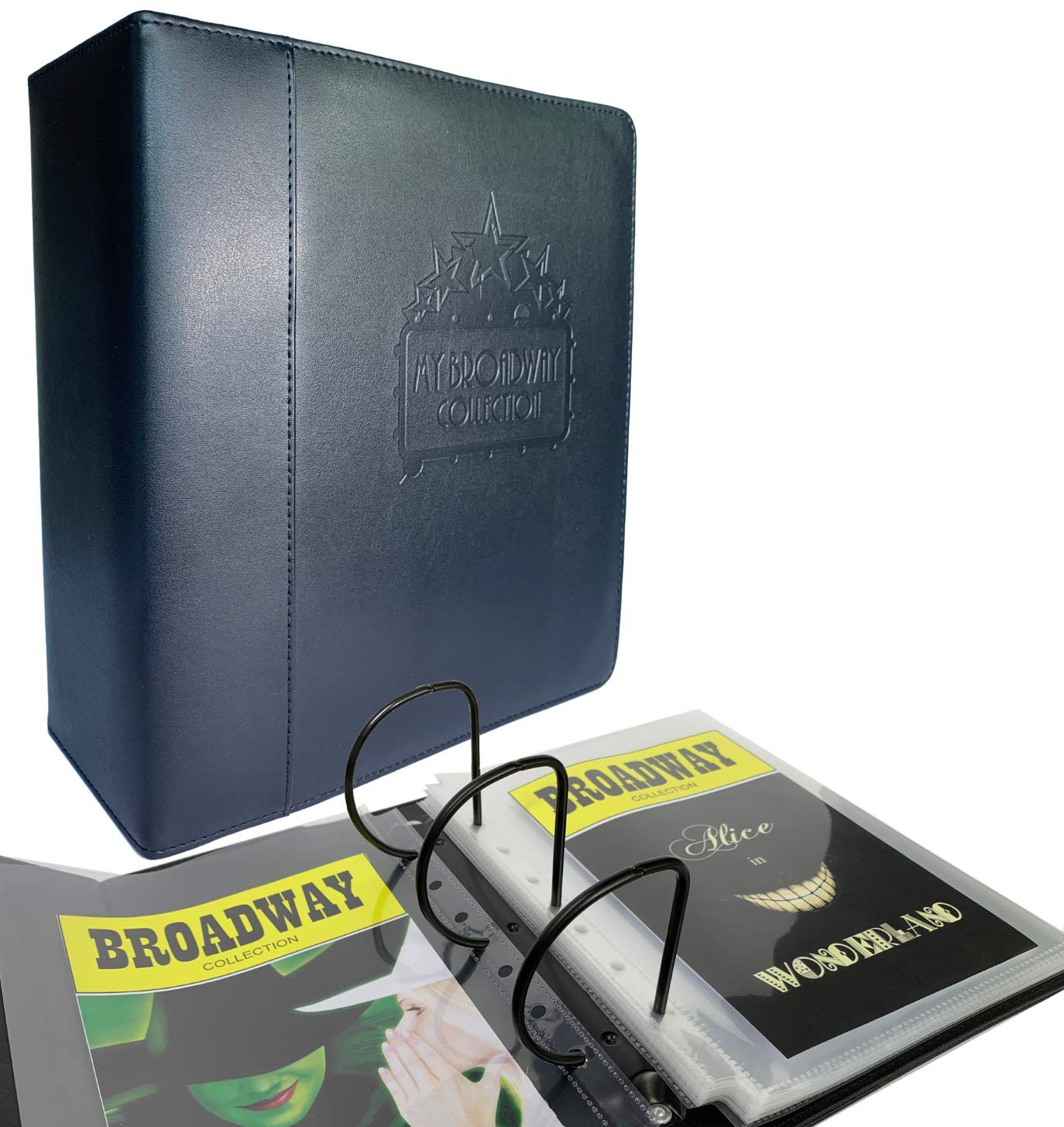 Playbill Binder | Black Leather Playbill Binder | ''My Broadway Collection'' Logo embossed |Playbill Organizer INCLUDES 25 SLEEVES | Best Broadway Musical Gifts, Theater gifts| Custom Size Playbill Hold by XC Creations
