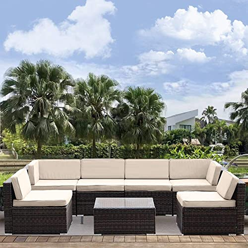 MAGIC UNION Outdoor Furniture All-Weather Sectional Sofa Patio PE Rattan Wicker with Cushion Cover 7 Pieces Garden Couch Conversation Set
