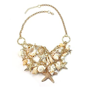 OULII Sea Shell Pearl Pendant Necklace Collar Chain for Women's Ladies (Golden) 1HSnSBK