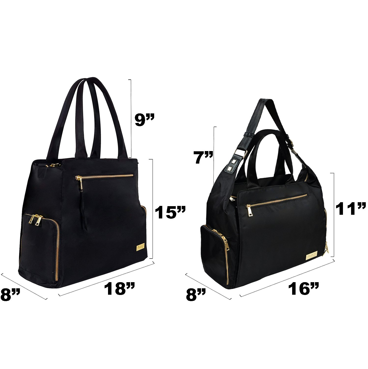 The New Yorker Breast Pump Bag by Charlie G, Black/Gold (Large) by Charlie G Bags (Image #4)