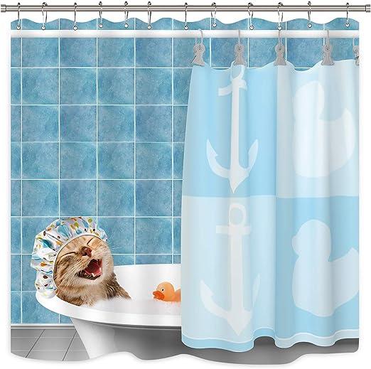 Bath Duck Polyester Waterproof Bathroom Fabric Shower Curtain 12 Hook