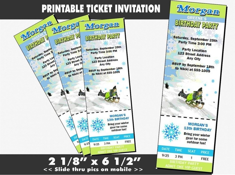 Amazon.com: Snow Sledding Birthday Party Ticket Invitation ...