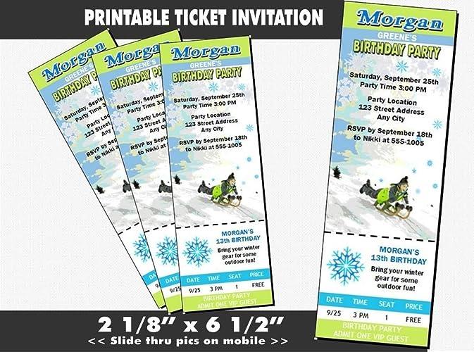 Amazoncom Snow Sledding Birthday Party Ticket Invitation