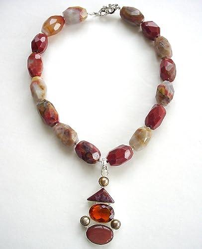 Tassel Jewelry On SALE 19 Large Gemstone Jewelry Tassel Gemstone Necklaces Long Chunky Gemstone Carnelian Stone Silver Tassel Necklace