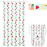 Sand Proof Beach Towels Portable - Wild Watermelon, Extra Large (200x90cm, 78x35) - Mint Green Striped Design Travel…