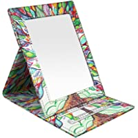 Portable Folding Vanity Mirror, Fintie Slim PU Leather Makeup Mirror Folding Portable Tabletop Travel Mirror with Standing