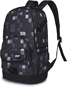 Rickyh Style School Backpack for Girls & Boys Students, Men & Women, Lightweight Great for School, Casual Daypack Travel Outdoor Camouflage Backpack for Boys and Girls College Backpack-Square Grey