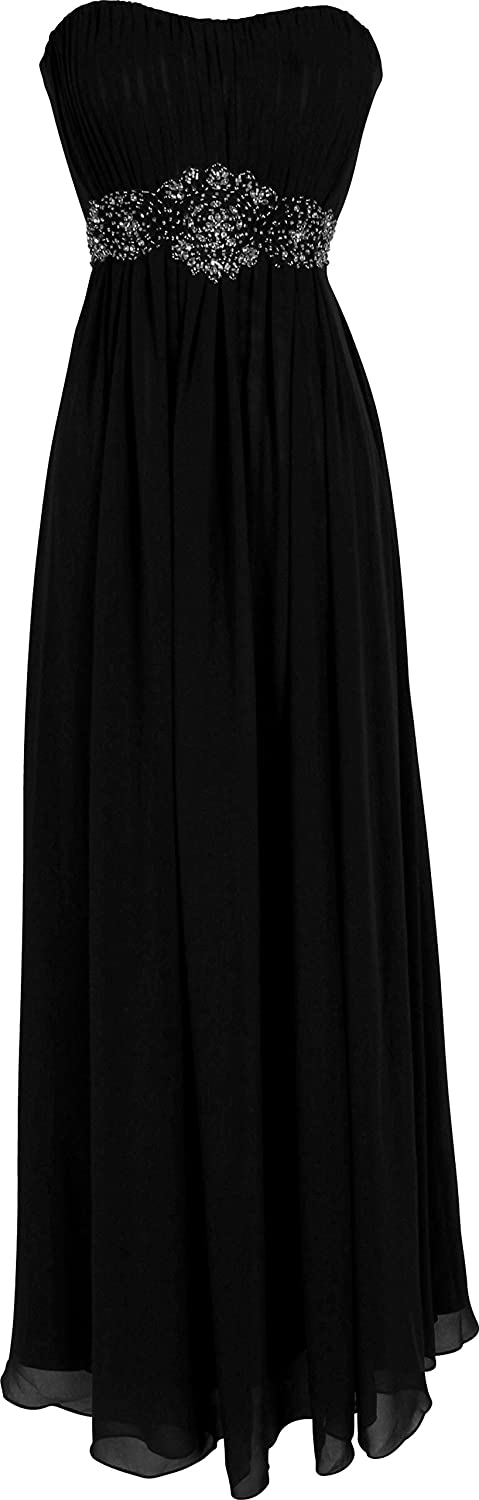 Strapless Chiffon Goddess Long Prom Dress Bridesmaid Medium Black OZ-54072