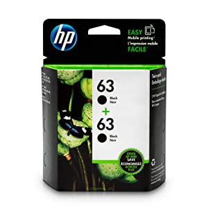 HP 63 Black Ink Cartridge (F6U62AN), 2 Cartridges (T0A53AN) for HP Deskjet 1112 2130 2132 3630 3632 3633 3634 3636 3637 HP ENVY 4512 4513 4520 4523 4524 HP Officejet 3830 3831 3833 4650 4652 4654 4655