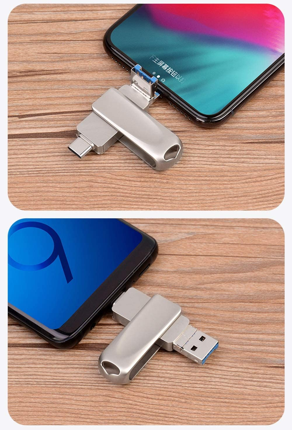 USB 3.0 U Disk Storage Adapter 16//32//64//128//256GB for iPhone Type-C Cell Phone /& Computers JAY-LONG Type-C//Lightning//USB 3-in-1 OTG Flash Drive