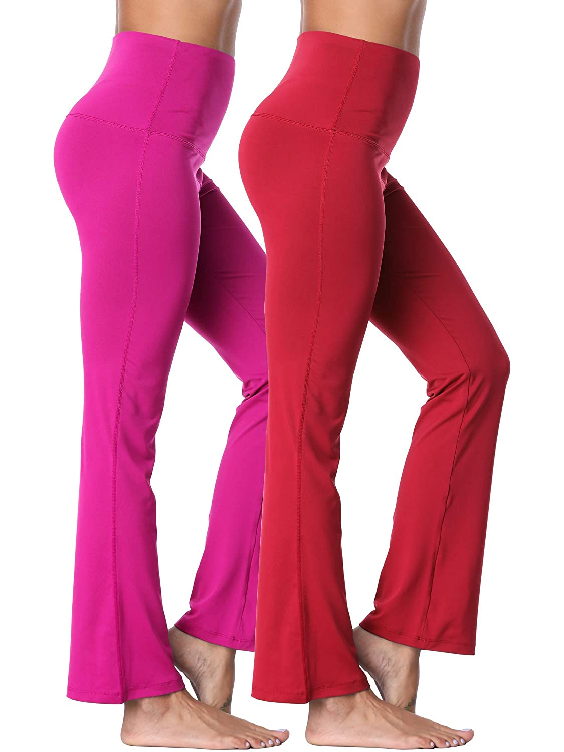 106  Red pink Red, 2 Pack Neleus High Waist Running Workout Leggings for Yoga with Pockets